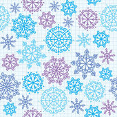 Seamless pattern with hand drawn snowflakes on paper