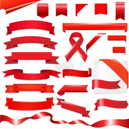 Illustration for Red Ribbons Set, Isolated On White Background, Vector Illustration - Royalty Free Image