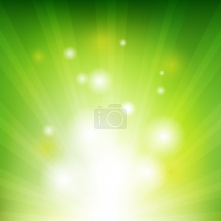 Illustration for Green Background With Beams, Vector Illustration - Royalty Free Image