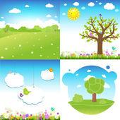 4 Set Cartoon Landscape Vector Illustration
