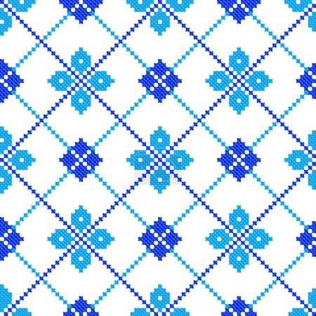 Illustration pour Modèle sans couture hiver, illustration vectorielle comme ornement d'ukraine ethnique brodé à la main - image libre de droit