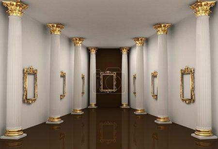 Photo pour Point de vue des murs de la galerie avec colonne d'ordre corinthien - image libre de droit