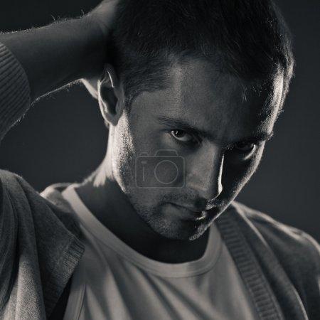 Young man acting