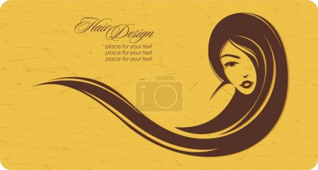 Illustration for Vintage girl with long hair. Place for your text. Vector illustration - Royalty Free Image