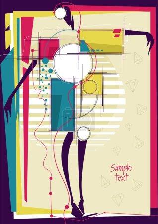 Illustration pour Fille abstraite dans fond lumineux de la mode. Place pour ton texto. Illustration vectorielle . - image libre de droit