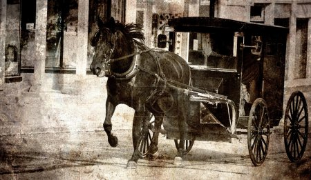 Textured horse and buggy being driven.