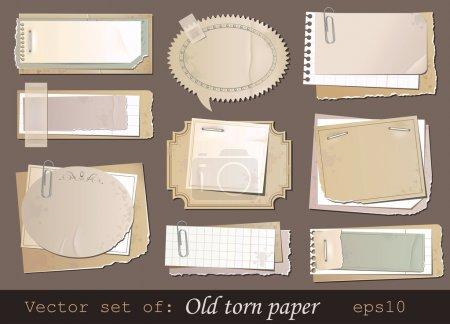 Illustration pour Ensemble vectoriel de vieux papiers déchirés - image libre de droit