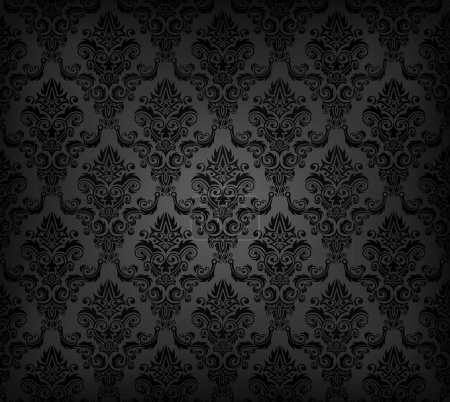 Illustration for Vector illustration of black seamless wallpaper pattern - Royalty Free Image
