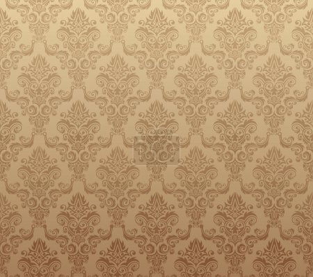 Illustration for Vector illustration of brown seamless wallpaper pattern - Royalty Free Image