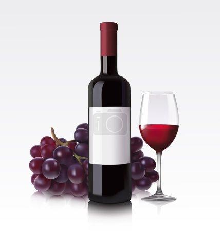 Illustration pour Illustration vectorielle de bouteille rouge blanche, verre et raisin - image libre de droit