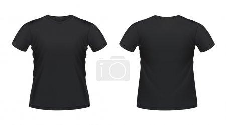 Illustration pour Illustration vectorielle du T-shirt homme noir isolé - image libre de droit