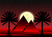 Sahara desert with egyptian pyramids at night - vector illustration