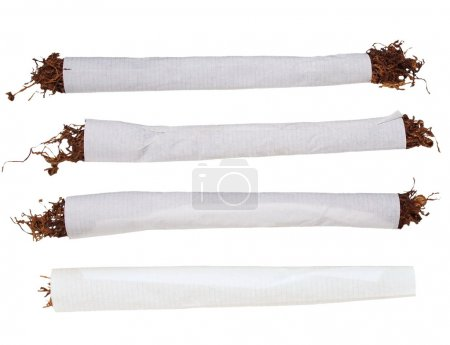 Set cigarette tobacco isolated on white background