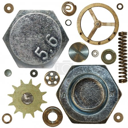 Gears, Screw heads, spring, bolts, steel nuts, old metal, isolated on white