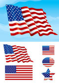 Flag of USA on blue sky Isolated on white background and icons with it - star square and oval shape