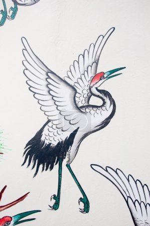 Photo for Chinese heron painting on wall in chinese temple - Royalty Free Image
