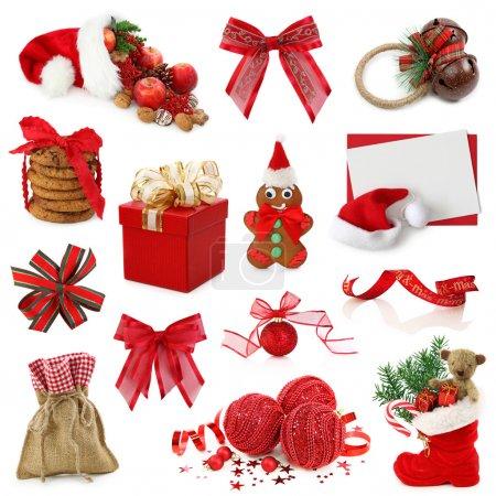 Photo pour Collection de Noël isolée sur fond blanc - image libre de droit