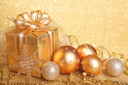 Photo for Christmas gift box with christmas balls - Royalty Free Image