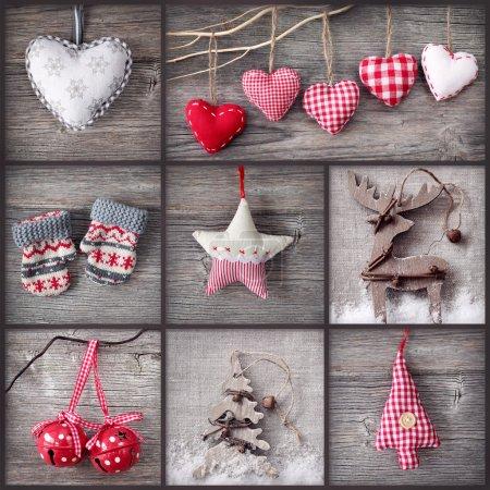 Photo pour Collage de photos de Noël sur fond de bois gris - image libre de droit