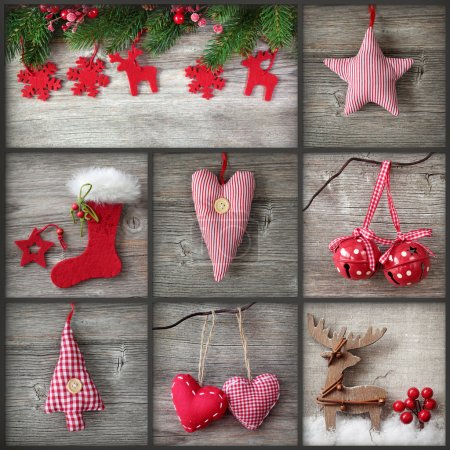 Photo for Collage of christmas photos over grey wood background - Royalty Free Image