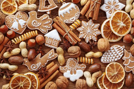 Photo for Gingerbread cookies and spices close up - Royalty Free Image