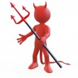 Devil posing threatening with his red and black tr...