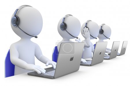 Employees working in a call center front view