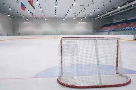 Photo pour Aire de jeux vide de hockey sur glace - la vue de derrière la porte - image libre de droit