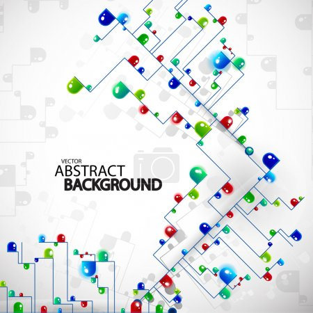 Illustration for Vector abstract tree techno background made of light bulbs or smth like this - Royalty Free Image