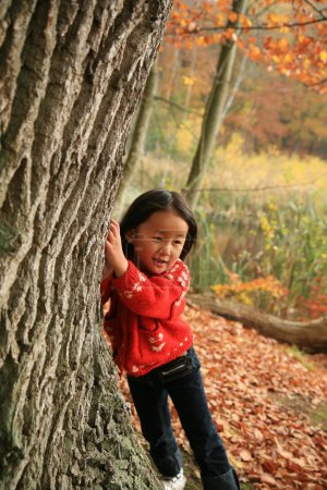 Photo for Cchild outdoor in forest - Royalty Free Image