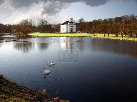 Church and swan