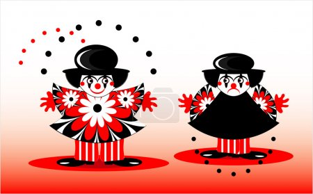 Illustration for Sad clown and happy clown with ball - Royalty Free Image