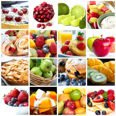 Photo for Collage of fruits and fruit desserts. Delicious healthy eating. - Royalty Free Image