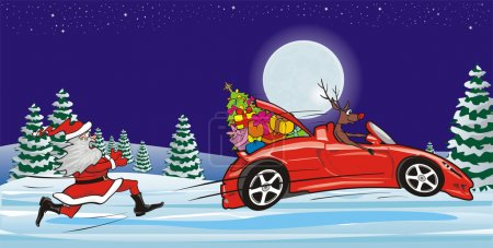 Illustration for Chasing reindeer santa claus, merry christmas, christmas card - Royalty Free Image