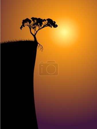 Illustration for Single lonely tree on a precipice, sun in a fog - Royalty Free Image