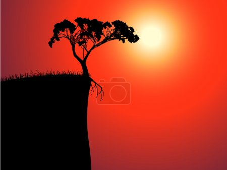 Illustration for Single lonely tree on the brink, sun in a fog - Royalty Free Image