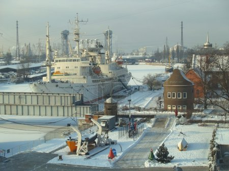 Exposition in territory of a museum of the World ocean in Kaliningrad, Russ