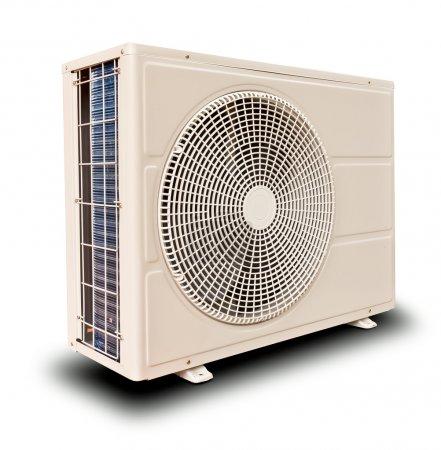 Photo pour Compresseur d'air métal blanc incliné droit isolé sur fond de blanc - image libre de droit