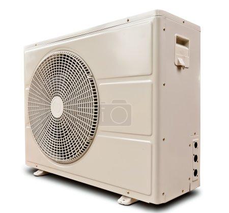 Photo pour Compresseur d'air métal blanc incliné gauche isolé sur fond de blanc - image libre de droit