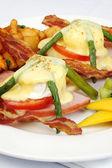 Asparagus ham tomato eggs benedict