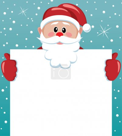 Illustration for Vector xmas illustration of santa holding blank paper for your text - Royalty Free Image