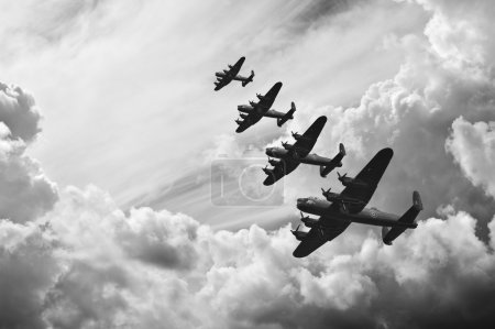 Photo for Black and white retro image of Lancaster bombers from Battle of Britain in World War Two - Royalty Free Image