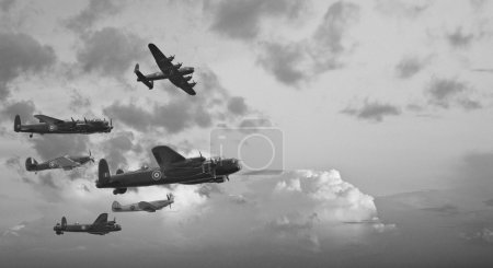Black and white retro image of Lancaster bombers f...