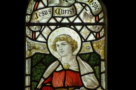 Beautiful stained glass window detail in 15th Century Saxon chur