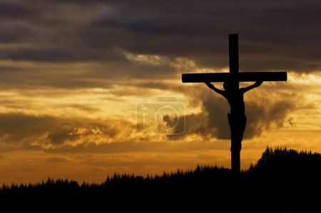 Photo for Silhouette of Jesus Christ crucifixion on cross on Good Friday Easter - Royalty Free Image
