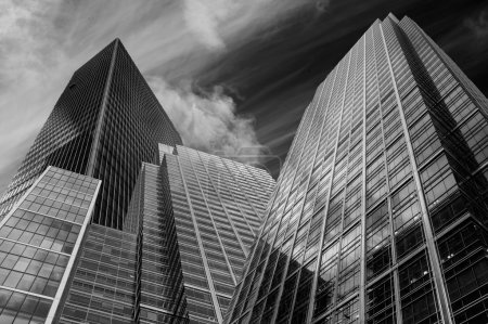 Dramatic high contrast black and white business concept image