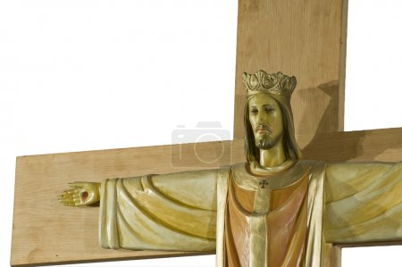 Photo for Jesus Christ on Crucifix detail Good Friday isolated on white - Royalty Free Image