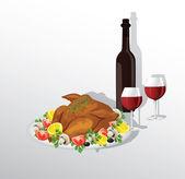 Tasty crispy roast turkey or hen and vegetablesand wine