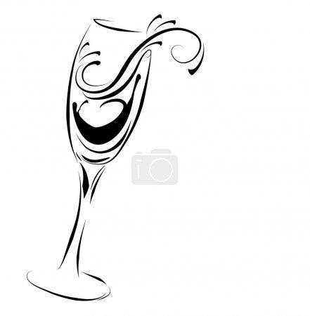 Illustration pour Verre de champagne abstrait - image libre de droit