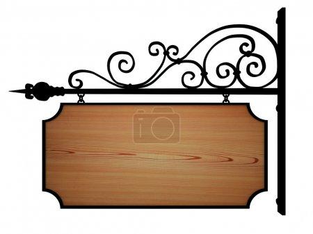 Photo pour Enseigne de fer forgé avec panneau en bois - image libre de droit